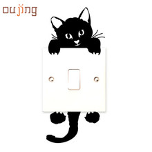 Newest 2017 New hot Viny Cat Wall Stickers Light Switch Art Baby Nursery bedroom Decor Levert Dropship dig6314