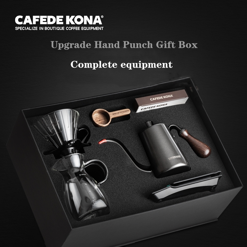 CAFEDEKONA Hand Coffee Pot Set Drip Filter Home Coffee Gift Box Hand Punching Device 6 Piece Set