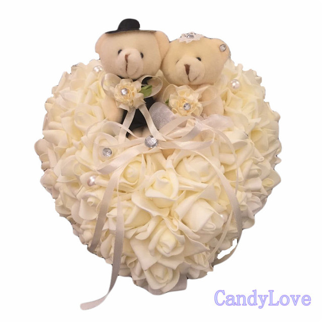 Beautiful Heart Shape Beige Couples Teddy Bear Ring Pillow for