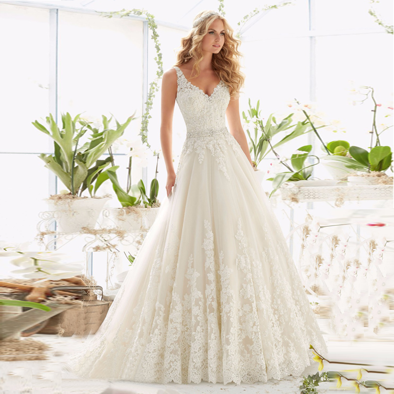 9f44b247563 Berydress 2016 Distinctive Ivory Beading Bridal Vestidos Full Appliques A  line Dress Wedding Gown V neck and V back-in Wedding Dresses from Weddings    ...