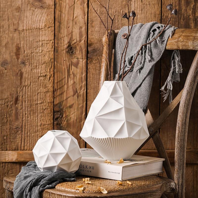 Vase géométrique torsadé moderne minimaliste nordique vase en céramique fleur meuble TV accessoires maison artisanat ornements