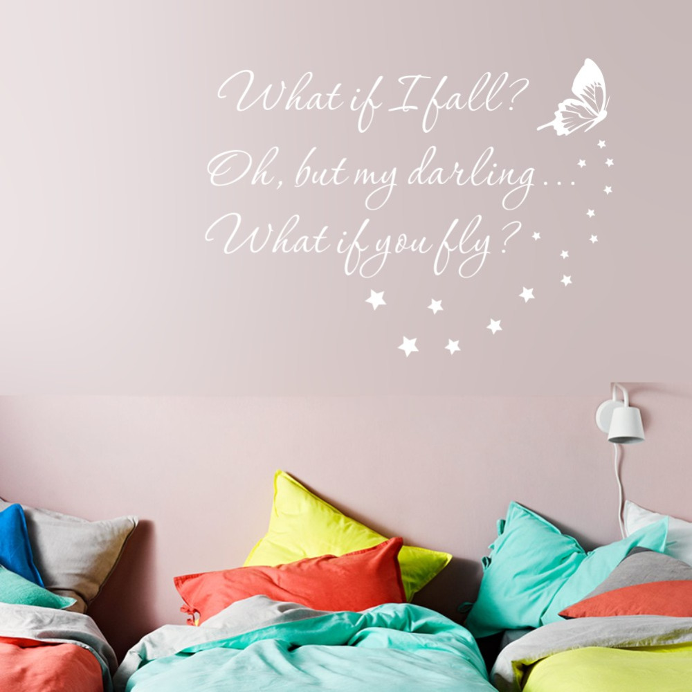 US $6.63 17% OFF|What if I Fall Girls Room Vinyl Wall Art Sticker Nursery  Wall Quotes Decal-in Wall Stickers from Home & Garden on AliExpress