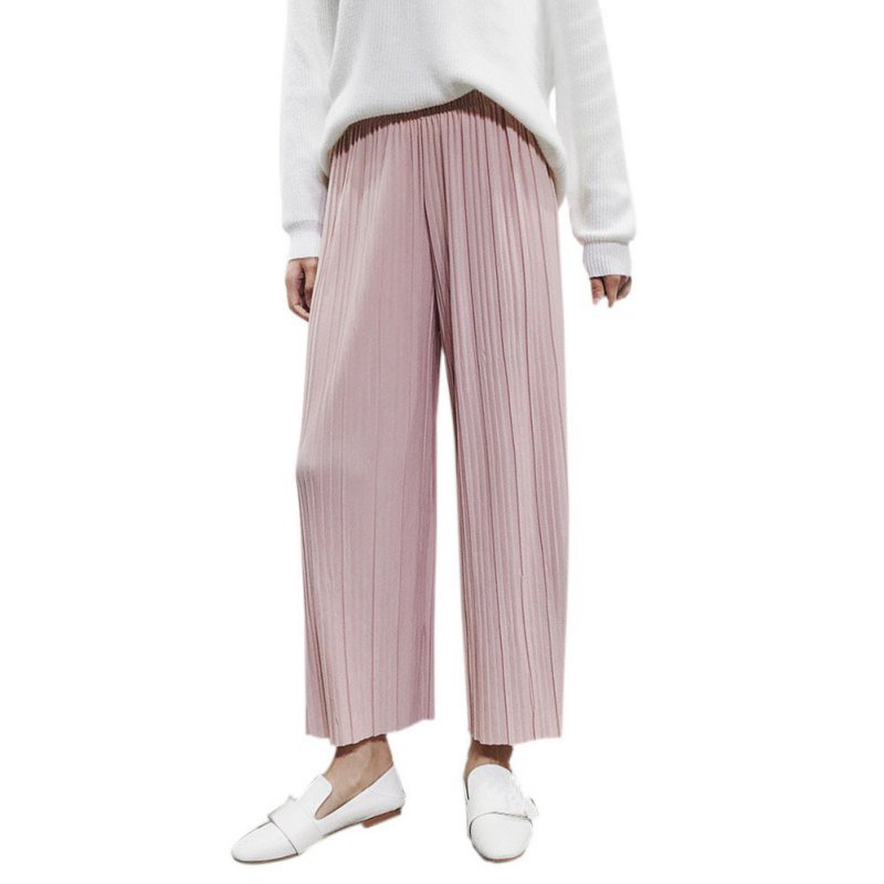 Women Chiffon High Waist Trousers   Pants   Loose Casual Style Solid Color   Pants     Wide     Leg     Pants