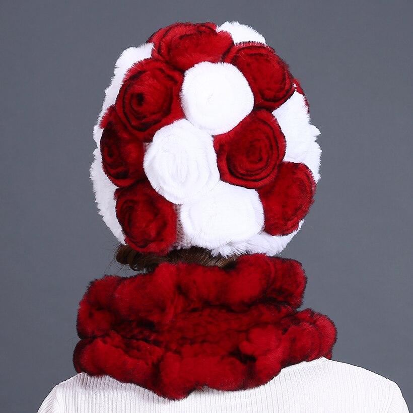 Sombreros y bufandas para mujer Piel de rex genuina Sombrero de flor - Accesorios para la ropa - foto 3