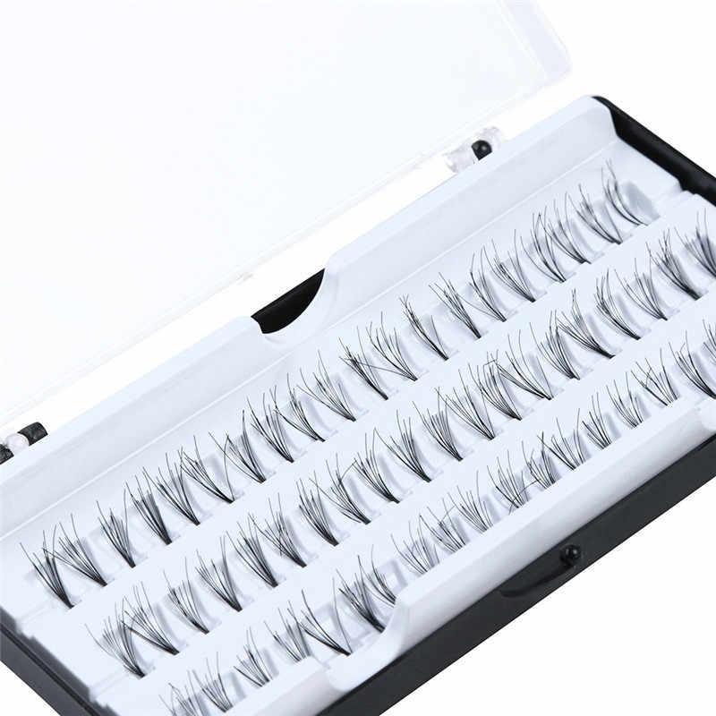 60 искусственные накладные отдельные пучки ресниц расширение Премиум Угловые расклешенные Кластерные ресницы 3D норковые ресницы толстые ресницы ручной работы
