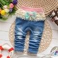Los Bebés de La Princesa Arco de Encaje Denim Jeans Para Niños Pantalones Largos Otoño Primavera Pantalones roupas de bebe