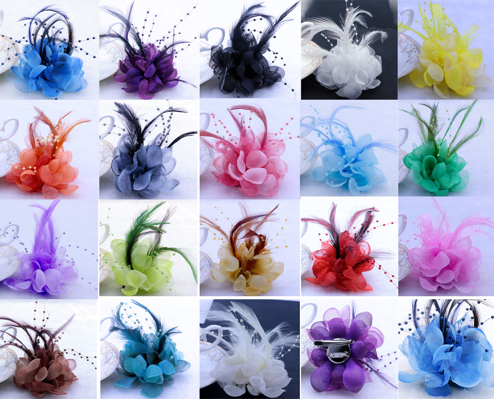 12pcslot 18 Colors Feather Hairpin Cosmos Flower Headdress