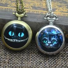 Кварцевые модные карманные часы Алиса в стране чудес, ожерелье для женщин, милый кот, мультфильм, улыбка, Китти, серебро, бронза, Fob часы, изображение