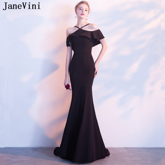 JaneVini 2019 Sexy Black Long   Bridesmaid     Dresses   Spaghetti Straps Ruffles Backless Satin Sweep Train Simple Formal Party Gowns