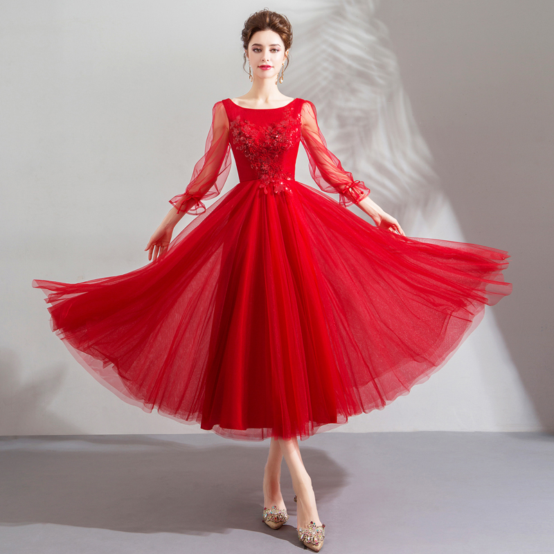 ruthshen 2018 New Red Illusion   Bridesmaid     Dresses   Appliques Beaded Tea Length Transparent Long Sleeves Wedding Party   Dress