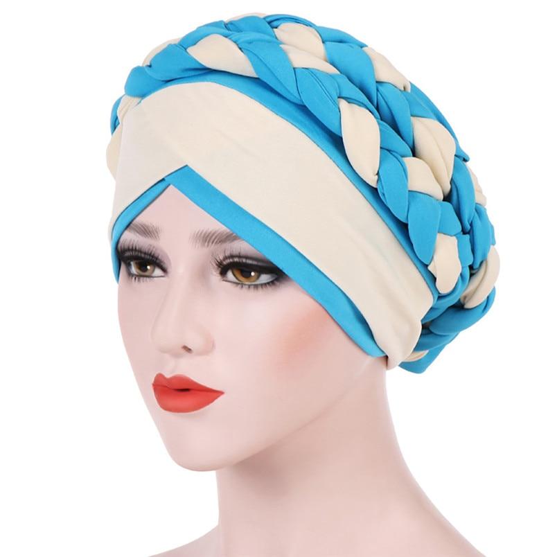 2018 Fashion New Women Hairbraid India Africa Muslim Stretch Turban Cotton Hair Loss Head Scarf Wrap Cap Casual Hot Sale #L26 (12)