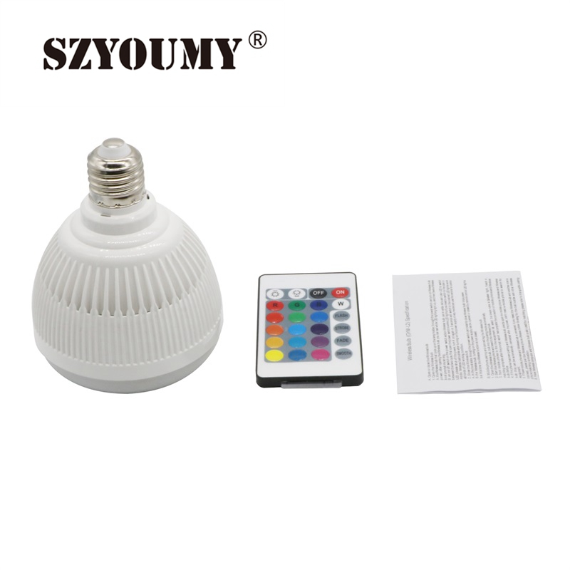 SZYOUMY Smart RGBW Wireless Bluetooth Speaker Bulb Music Playing Dimmable 12W E27 LED Bulb Light Lamp with 24 Key Remote Control choudory 2017 runway denim blue over the knee boots sexy open toe high heel boots woman thigh high boots thin heels jeans boots