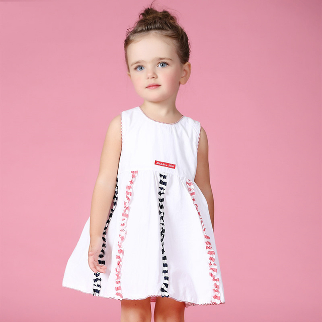 2016 Summer Dress Girls Clothes Baby Kids Cotton Frock Designs Rainbow Colorful Dress