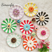 Simanfei Disposable Tableware 2018 Gilding Striped Children Birthday Cake Paper Plates Party Wedding Carnival Tableware Supplies