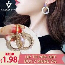 aac0ddb8bde9 Pendientes de aro redondos grandes de estilo coreano de misanryne pendientes  de diamantes de imitación brillantes de Color dorad.