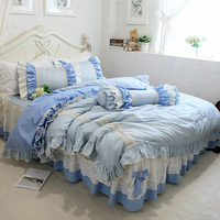 Top sweet ruffle bedding set plaid ruffle duvet cover bedding sun flower lace with bow bedspread elgant bed sheet for princess