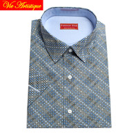 custom tailor made Men's bespoke cotton floral dress shirts business formal wedding ware blouse 2019 short sleeve grey geometric