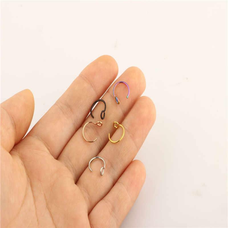 1 шт., стальное кольцо для носа, кольцо для губ, C зажимом для губ, спираль, пирсинг для пупка, розовое золото, искусственная перегородка, кольца для пирсинга Neus, ювелирное изделие
