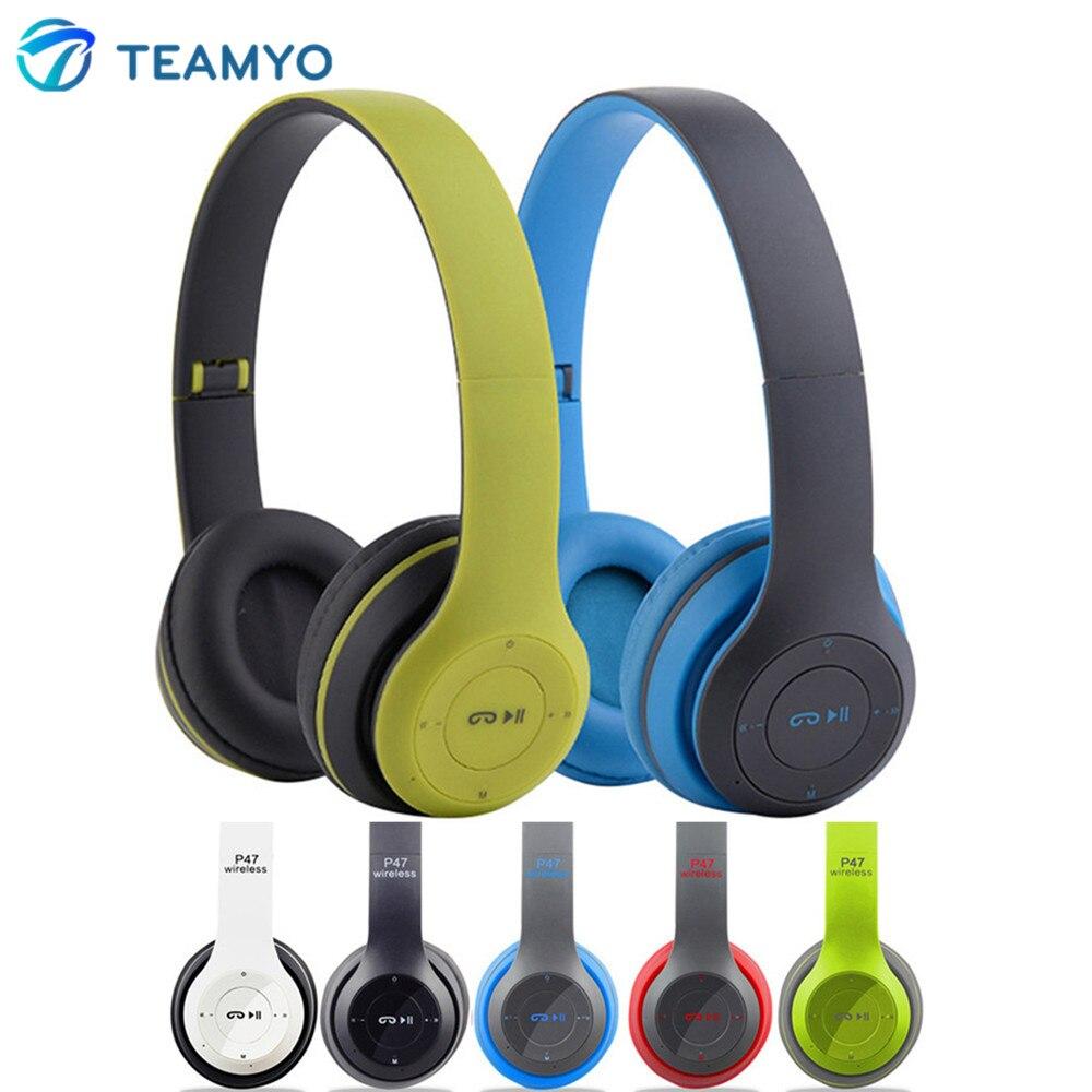 Teamyo P47 Bluetooth Headphones Wireless Music Auriculares HiFi headphone Foldable Headset With Mic Support FM Radio TF Card
