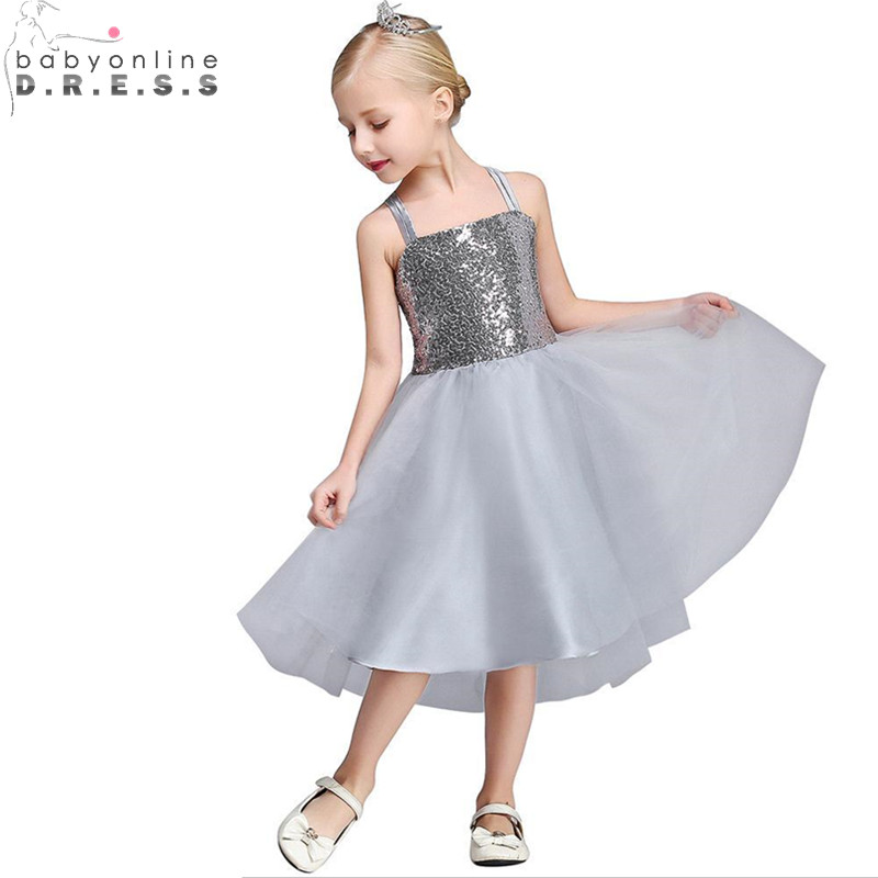 Vestidos de Primera Comunion Real Image Sequin Spaghetti Straps Gray   Flower     Girl     Dresses   First Communion   Dresses   for   Girls