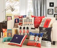 British Style Cushion Covers Soldiers Tower of London Cambridge Pillow 45cm*45cm Linen Letters Decorative