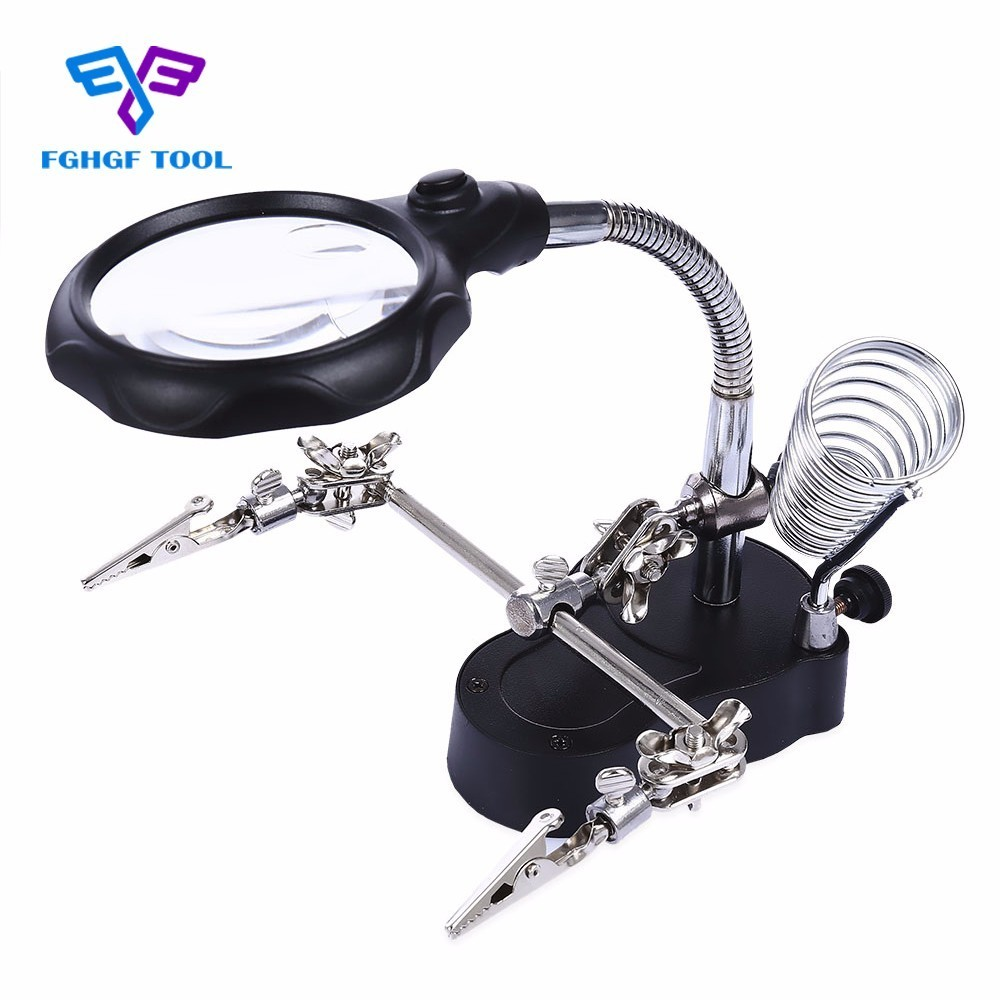 FGHGF Standing Style Third Hand Soldering Iron Stand Helping Clamp Vise Clip Desk Magnifier LED Loupe Magnifying Glass