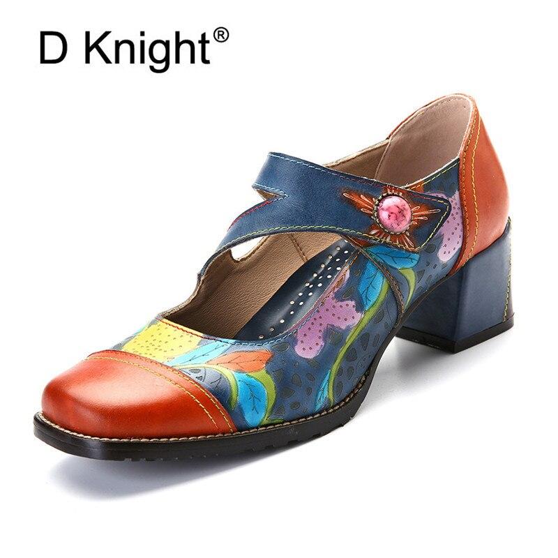Rétro en cuir véritable femmes pompes chaussures printemps été femme Mary Janes cheville boucle sangle talons hauts fleur imprimé dames chaussures