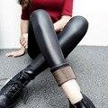 Alta estiramento mulheres inverno quente grossa leggings pretas bodycon fino forro de lã de couro falso magro femininas leggings plus size