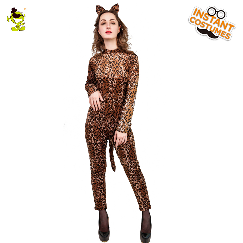 Purim Holiday New Leopard girl Costume Women s Sexy Leopard And High  Quality Jumpsuit For Halloween Party 1f5096697838