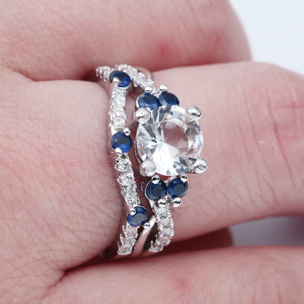 new silver plated finger Rings wholesale new design micro paved blue ...