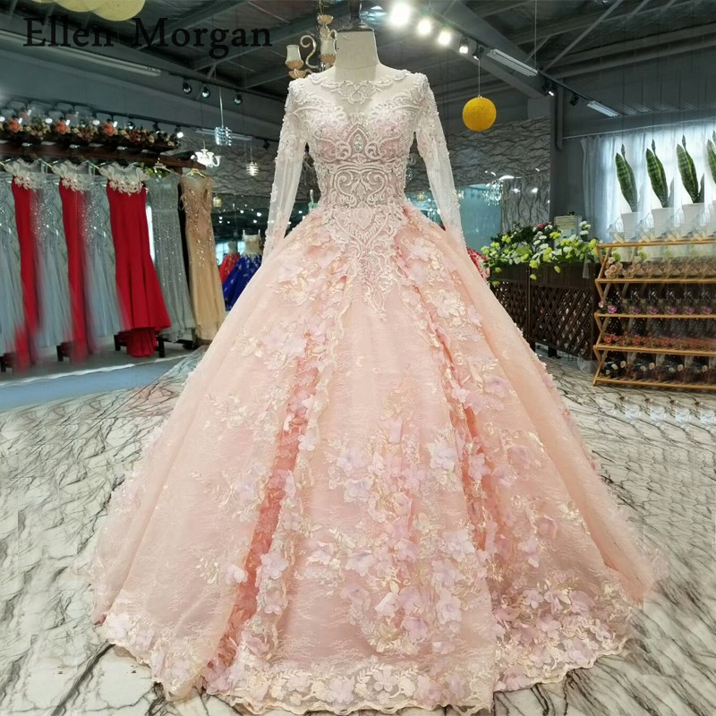 China Long Sleeves Wedding Dress Custom Made Lace Princess: Pink Lace Long Sleeves Wedding Dresses 2019 With Flowers
