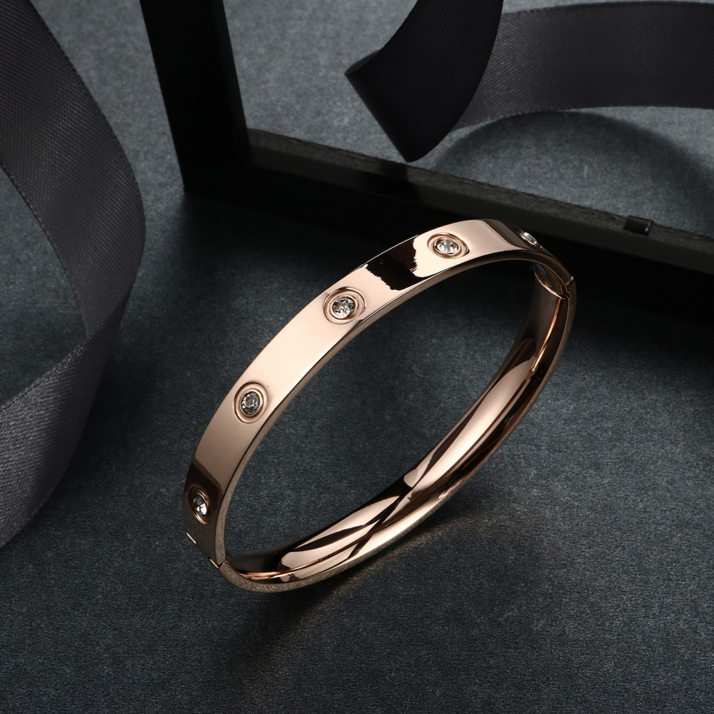 Trendy Rose Gold Love Bracelets Bangles Women Gold Color Stainless Steel Charming CZ Cuff Bracelet Lovers Luxury Brand Jewellery 16