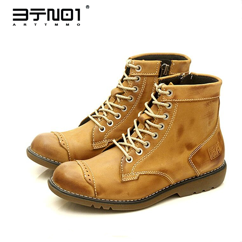 Classical Retro Mens Martin Boots Genuine Leather Lace Up Ankle Boots Round Toe Zip Work Safety Boots Man Winter Shoes krusdan british style brand man handmad semi brogue shoes genuine leather round toe lace up men s cowboy martin ankle boots nk56