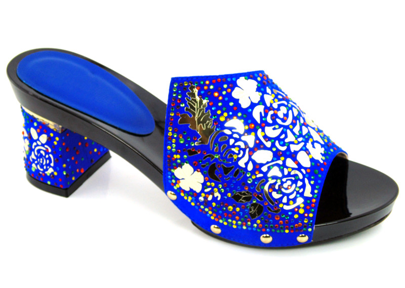 ФОТО 2016 royal blue Newest Style Open Toe Heels Upscale Shoes Woman High Heels African Sandals Shoes !DG1-14