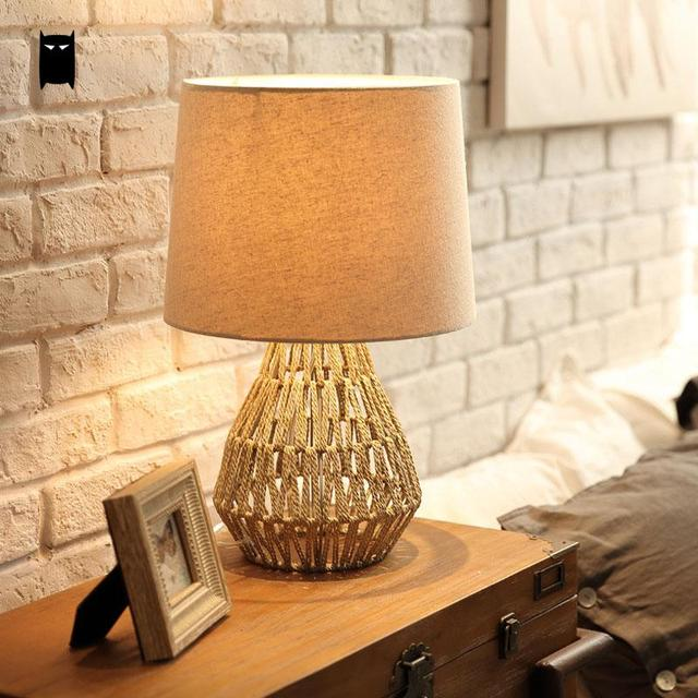 Handmade Hemp Rope Iron Fabric Shade Table Lamp Fixture Nordic Vintage Desk  Light Abajour Night Stand