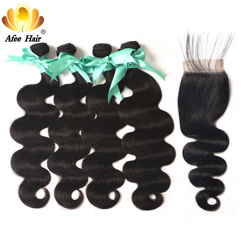 Aliafee Hair #1b/#2/#4 Color Brazilian Body Wave 4 Bundles With Closure Brazilian Hair Weave 100% Human Hair Extension Non-Remy