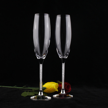 Champagne flutes wedding set crystal glass cups 170ML with rhinestones good quality price