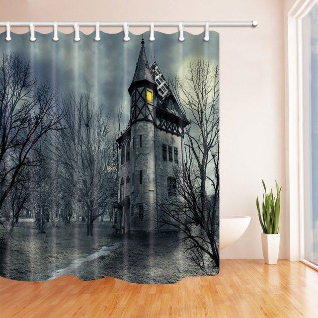 Gothic Castle Bats In Storm Halloween Shower Curtains For Bathroom Polyester Fabric Waterproof Bath Curtain