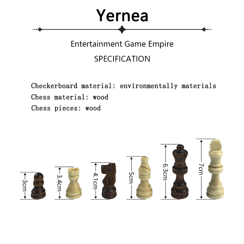 Yernea Chess Pieces Wooden Game Folding Wooden King 7CM Chess Set 34 34 1 8CM Chess Board Game Checkerboard Entertainment Gift in Chess Sets from Sports Entertainment