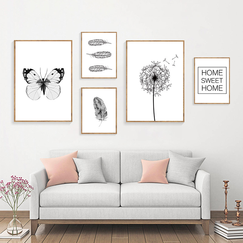 Dandelion Wall Art Dandelion Decor Black White Bedroom: Dandelion Wall Pictures Art Print Feather Canvas Painting