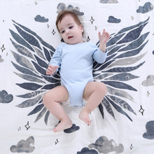 Organic cotton gauze baby blankets angel wings baby bath towel newborn swaddle wrap cotton infant baby blankets towels 2 layers