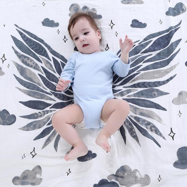 Alas de ángel bebé baño toalla gasa mantas de bebé de algodón orgánico recién nacido swaddle wrap toallas mantas de bebé infantiles de algodón 2 capas