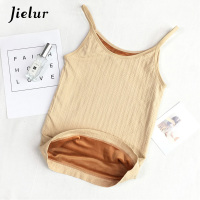 Jielur Winter Hot Warm Velour Thermal Tank Top Female Sexy Women Camis Bottoming Shirt Female Black