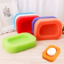 Bathroom Kitchen Mesh Sponge Soap Holder Box Tray Dish Container Random Color 13.5x10x3cm July Wholesale&DropShip