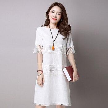 f88b73479 Verano mujeres vestido blanco gris color o Masajeadores de cuello manga  corta de algodón de lino una línea vestido ahueca hacia fuera vestido de la  vendimia ...