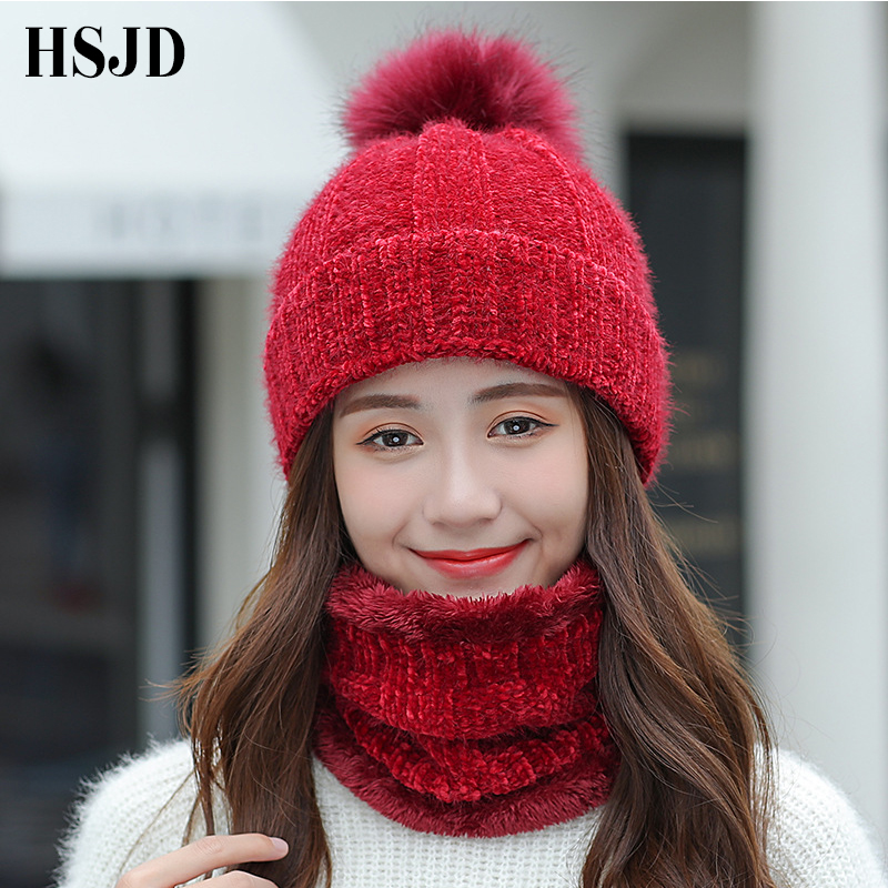 Ski Hat Female 2018 Chenille Knitted Hats For Women Scarf Caps Neck Warmer Winter Pompoms Hats   Skullies     Beanies   Caps For Girl