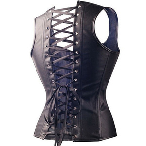 Image 3 - Dominatrix Steampunk Corset Black Leather Burlesque Clubwear Lace up Boned with Chains Gothic Carnival Clothing Fetish Tops 6XL