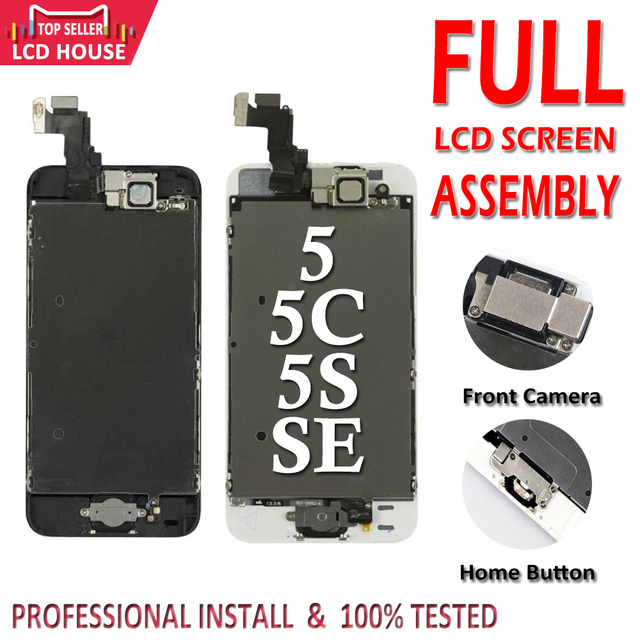 Complete Full Set LCD Screen For iPhone 5 5C 5S SE LCD Display Touch Digitizer Assembly Replacement Home Button+Front Camera