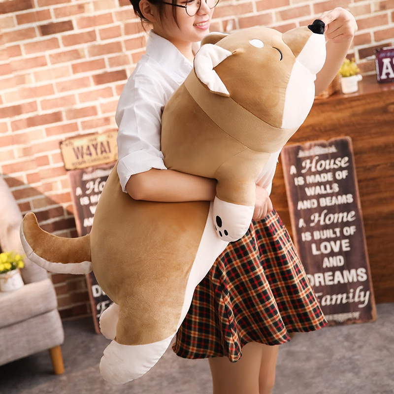 1pc Cartoon Lying Plush Stuffed Dog Big Toys Shiba Inu Dog Doll Lovely Animal Children Birthday Gift Corgi Plush Pillow 40-100cm