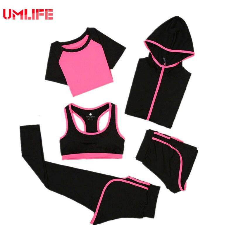 UMLIFE 5 Pièces De Yoga Ensemble Costumes Des Femmes De Yoga Remise En Forme Sport manteau Survêtements Femmes Sport Courir ensemble Plus La taille Costume de Sport femmes